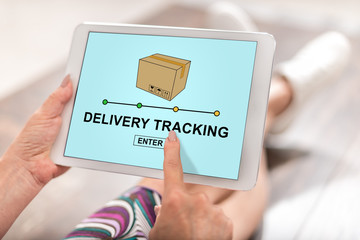 Delivery tracking concept on a tablet