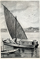 Sailboat at Bombay, India (from Meyers Lexikon, 1896, 13/338/339)