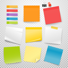 Different color paper stickers vector collection. Advertising mockup isolated on