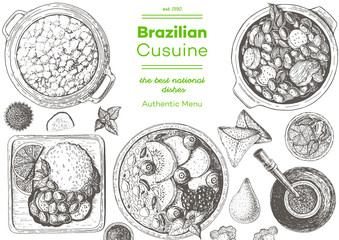 Brazilian cuisine top view frame. Brazilian food menu design with acai, feijoada, farofa, caipirinha and mate tea. Vintage hand drawn sketch vector illustration.
