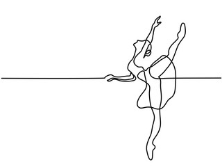 Continuous Line Art Drawing. Ballet Dancer ballerina. Vector Illustration
