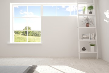 White empty room with shrlf and summer landscape in window. Scandinavian interior design. 3D illustration