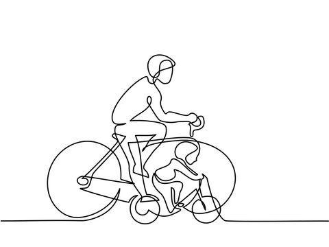Continuous line drawing. Father with son drive bicycles. Vector illustration