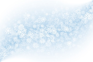 Vector Blank Winter Background. Frost Effect on Glass with Realistic Snowflakes Overlay on Light Blue Backdrop. Merry Christmas Abstract Illustration