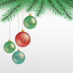 Christmas tree branch with balls. Hanging balls and golden snowflakes. Great for postcards, banners, flyers, headlines. Vector illustration.