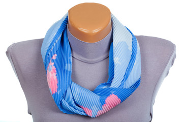 Blue scarf on mannequin isolated on white background.