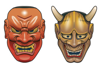 Two traditional japanese theater masks made of wood on white background