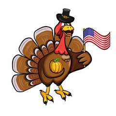 Cartoon turkey in a hat with a pumpkin and an American flag in his hands. Vector illustration