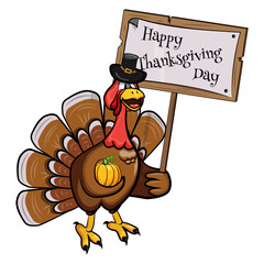 Cartoon turkey in a hat with a pumpkin and a tablet of congratulations on Thanksgiving Day. Vector illustration