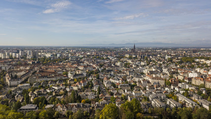 Aerial view of Strasbourg, the capital and largest city of the Grand Est region of France and the official seat of the European Parliament