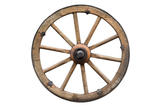 wooden wheel isolated on white with clipping path included