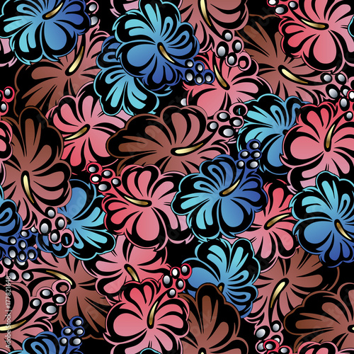 floral colorful seamless pattern black flourish vector background