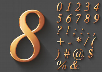 Set of golden luxury 3D Numbers and Characters. Golden metallic shiny italic symbols on gray background. Good set for wealth and jewel concepts. Transparent shadow, EPS 10 vector illustration.