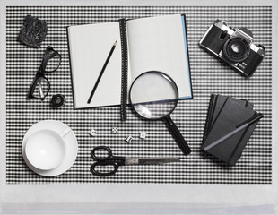 Collection of black and white objects...