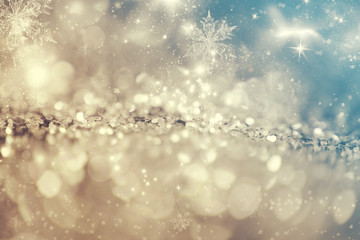 Abstract icy background with snowflakes
