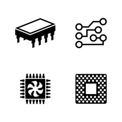 Computer Chips. Simple Related Vector Icons Set for Video, Mobile Apps, Web Sites, Print Projects and Your Design. Black Flat Illustration on White Background.