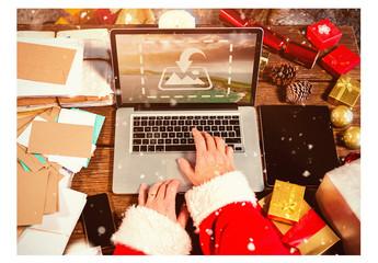 Santa with Laptop Mockup 3