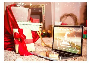 Laptop with Gift Bag Mockup 1