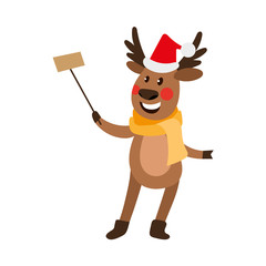 vector flat cartoon cute male christmas reindeer in scarf, hat making selfie by selfie stick smiling. Winter holiday deer animal simbol full lenght. Isolated illustration on a white background.