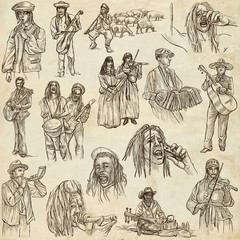 Music and MUSICIANS around the World. Collection of an hand drawn illustrations on old paper.
