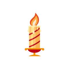 Flat style burning candle, Christmas icon, decoration element, vector illustration on white background. Christmas red and gold candle, flat style icon, decoration