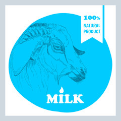 Sticker with the image of a goat. Milk. 100% natural product. Vector