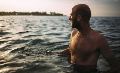 Young man in the sea