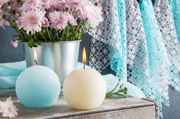 Blue and cream aroma candles
