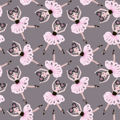 Cute dancing ballerina girls in pink tutus. Vector seamless pattern for baby and child wallpapers, textile, posters and clothing prints. Little girlfriends in ballet dresses.