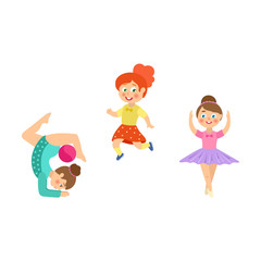 Girls doing sport exercises – runner, gymnast, ballet dancer, flat cartoon vector illustration isolated on white background. Little girls doing rhythmic gymnastics with ball, dancing ballet, running