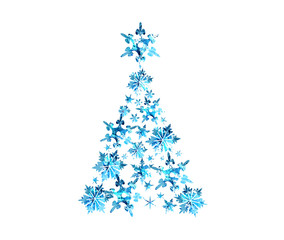 Abstract blue watercolor christmas tree, vector illustration