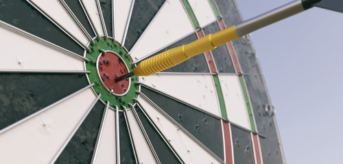 Dartboard with arrow in the middle - 3D Rendering