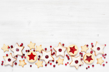 Background with traditional Linzer cookies