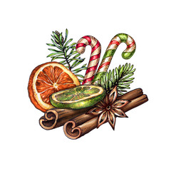 watercolor Christmas decoration, festive food illustration, dried orange fruit, cinnamon sticks, anise, candy cane, winter holiday clip art isolated on white background