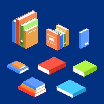 Isometric 3D vector illustration banner pile of books