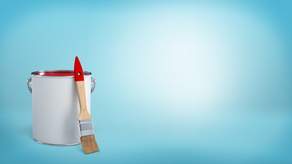 3d rendering of a clean new paint brush leaning on a metal bucket with red paint on blue background.