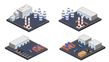 Isometric 3D vector illustration set of Oil plant and warehouse
