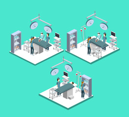 Isometric 3D vector illustration surgeon operates on the patient