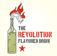 The Revolution Flavored Drink - a bottle of the Molotov Cocktail, color vector illustration