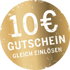 Goldener Button 10 Euro Gutschein
