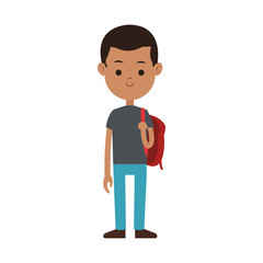 male student carrying bag happy dark skin cartoon icon image vector illustration design