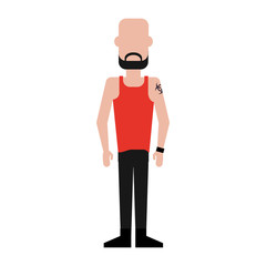 man with tattoo on shoulder wearing tank top avatar full body icon image vector illustration design