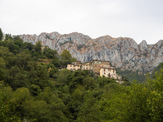 Borgata of houses above the village of Cardoso in Alta Versilia