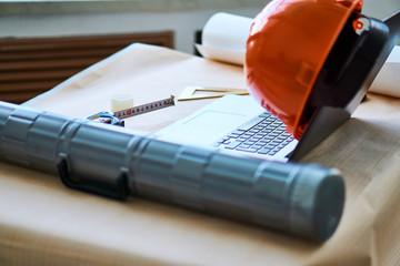 protective helmet, laptop, tube
