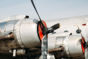 Propeller engines of a vintage airplane