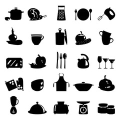 Vector illustration of kitchen utensils, household appliances and food