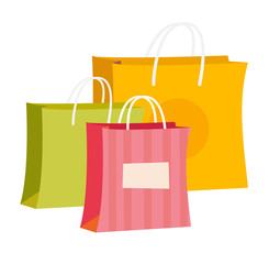 Group of empty colour paper shopping bags vector cartoon illustration isolated on white background.