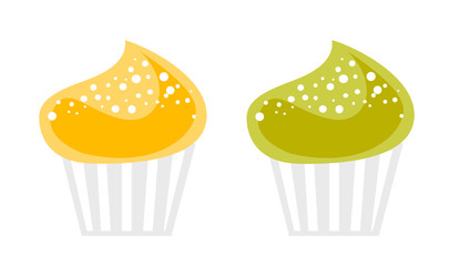 Yellow and green delicious cupcakes vector cartoon illustration isolated on white background.