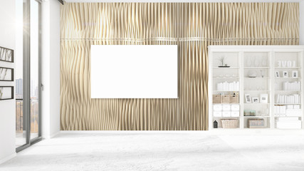 Fashionable modern empty clean room interior with empty frame and copyspace in horizontal arrangement. 3D rendering.