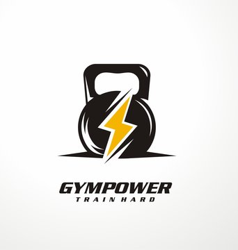 Gym power logo design idea with kettle bell and thunder symbol in negative space